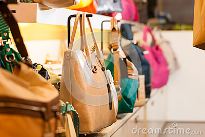 Leather bags in a shop
