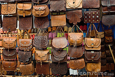 Leather bags on street market in Morocco