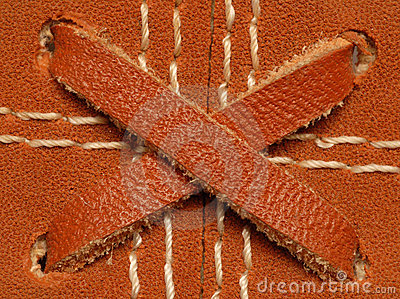 Leather baseball glove details