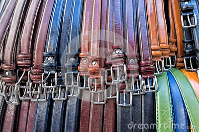 Leather belts in italian shop in florence Stock Photo