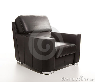 Leather black armchair isolated on white back