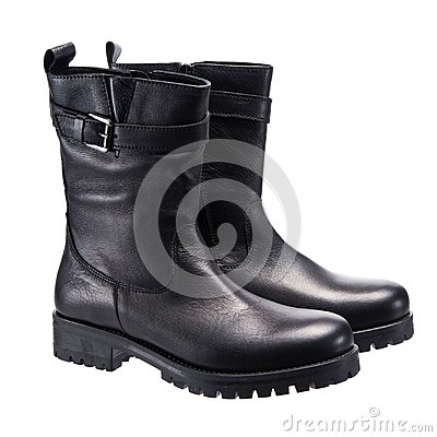 Free Leather Black Boots Royalty Free Stock Photography - 122950737