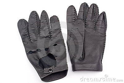Leather black race gloves