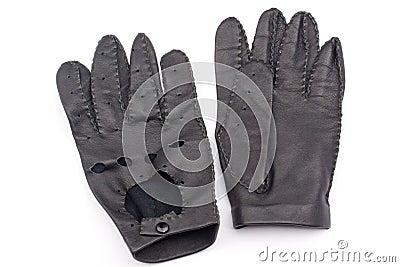 Leather black race gloves