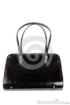 A leather black women handbag
