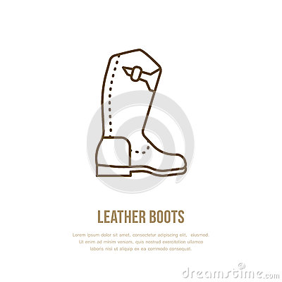 Leather boots line logo. Flat sign for polo equipment store. Traditional cowboy footwear icon Vector Illustration