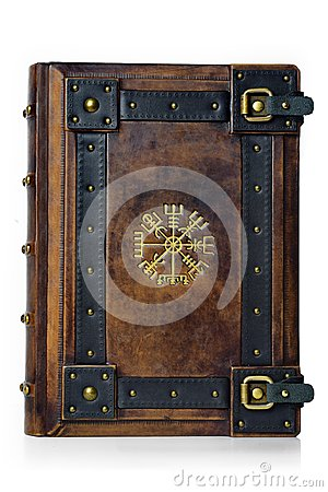 Free Leather Bound Book With Gilded Ancient Viking Symbol - Front View Of The Front Cover. Stock Photos - 115835413