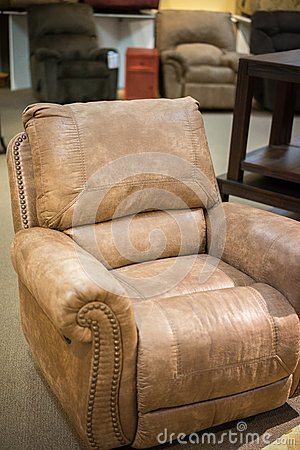 brown leather chair recliner side view