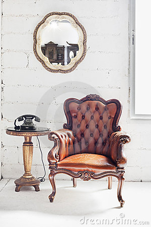 Leather chair and room interior