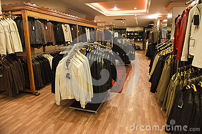 Leather Coats in a Retail Store Shop