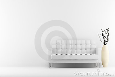 Leather couch and vase with dry wood