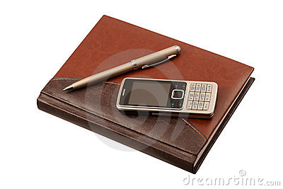 Leather diary, pen and mobile phone