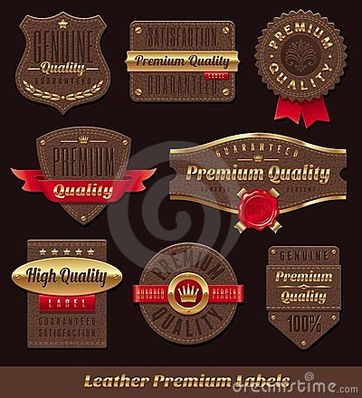 Free Leather & Gold Premium And Quality Labels Royalty Free Stock Photos - 23771838