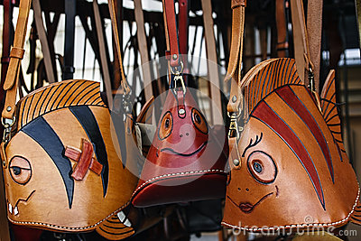 Leather Handbags with various figures