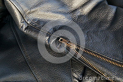 Leather jacket detail with zipper