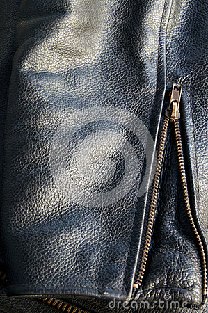 Leather jacket sleeve detail with zipper