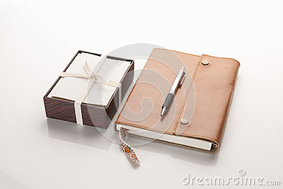 Leather notebook with box of cards