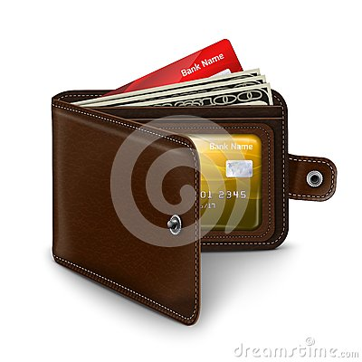 Leather Open Wallet With Credit Card Money Bills Stock ...
