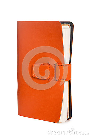 Leather orange notebook isolated on white