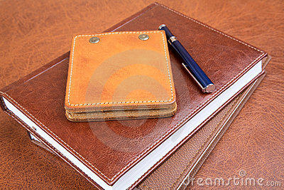 Leather organizers and  pen