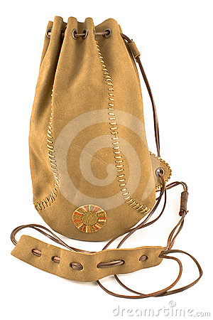 Free Leather Pouch Bag Tied With Leather String Royalty Free Stock Photo - 24482105