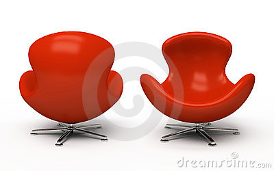 Leather red armchair