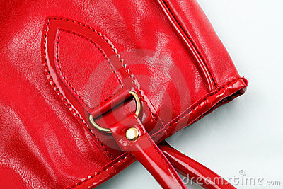 Leather red handbag closer