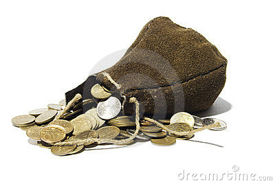 Leather sack full of coins