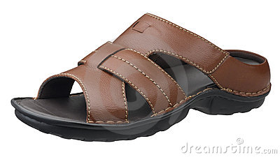 Brown leather sandal isolated on white
