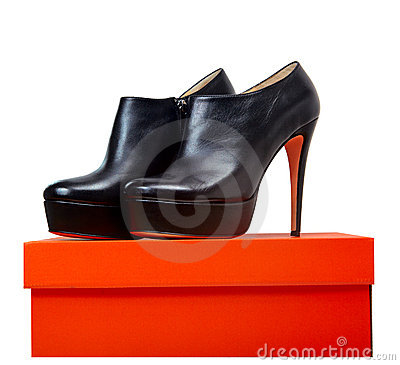 Leather shoes on a box