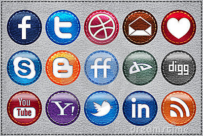 Leather Social Media icons Editorial Stock Image