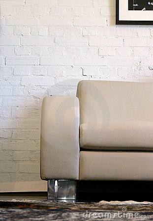 Leather Sofa and Brick Wall