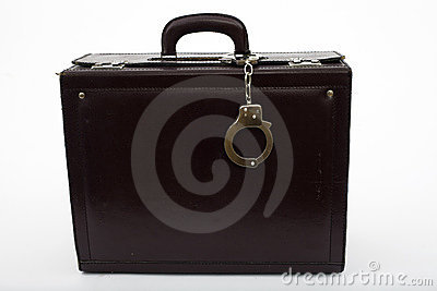 Leather suitcase from pinned handcuffs