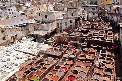 Leather Tanning In Fez Morocco Stock Image Image 18500811