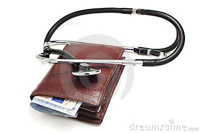 A leather wallet being examined with a stethoscope
