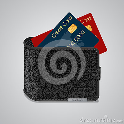 Leather wallet with credit cards inside. Vector