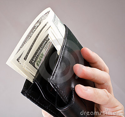Leather wallet with a dollars