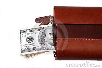 Leather wallet with dollars