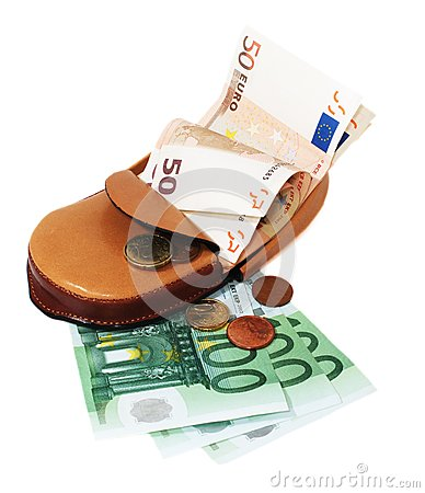 Leather wallet with euro