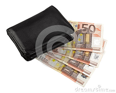 Leather wallet with some euros