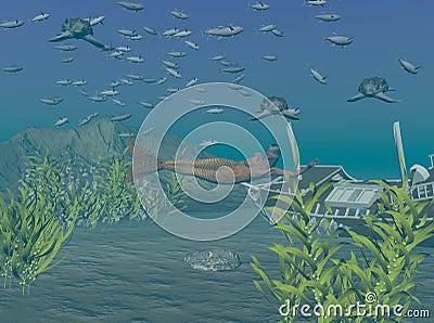 Leatherback Turtles Underwater