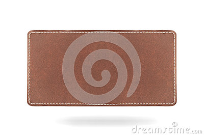 Leatherlabel on white background with bottom shado