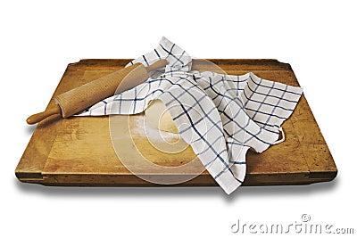 Leavened dough on a  breadboard