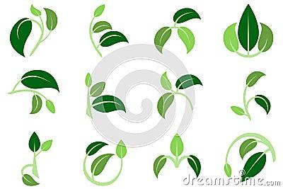 3 leaves 3 colors 3 twigs symbol logo Stock Photo