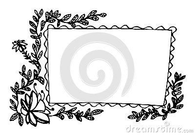 Leaves and flowers frame