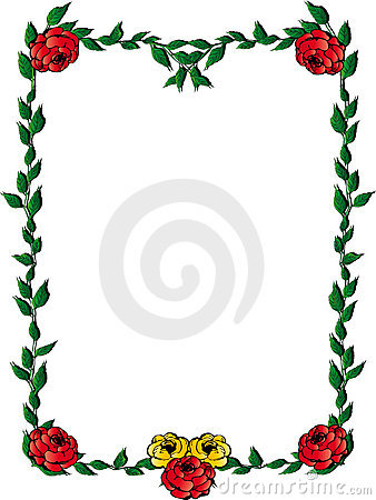Leaves frame with roses
