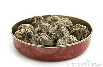The leaves of green tea braided in balls