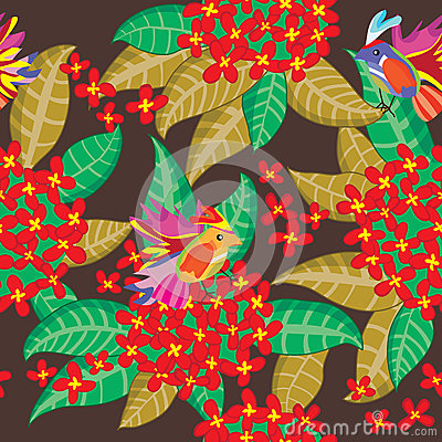Leaves Group Red Flower Seamless Pattern_eps