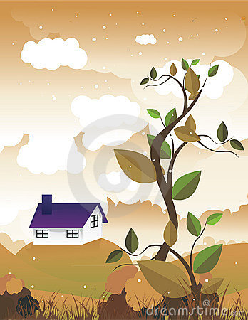 Leaves with a house in the landscape behind Vector Illustration
