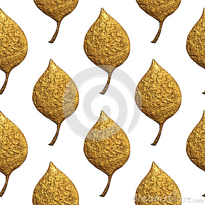 Leaves pattern. Gold hand painted seamless background. Abstract leaf golden illustration. Cartoon Illustration